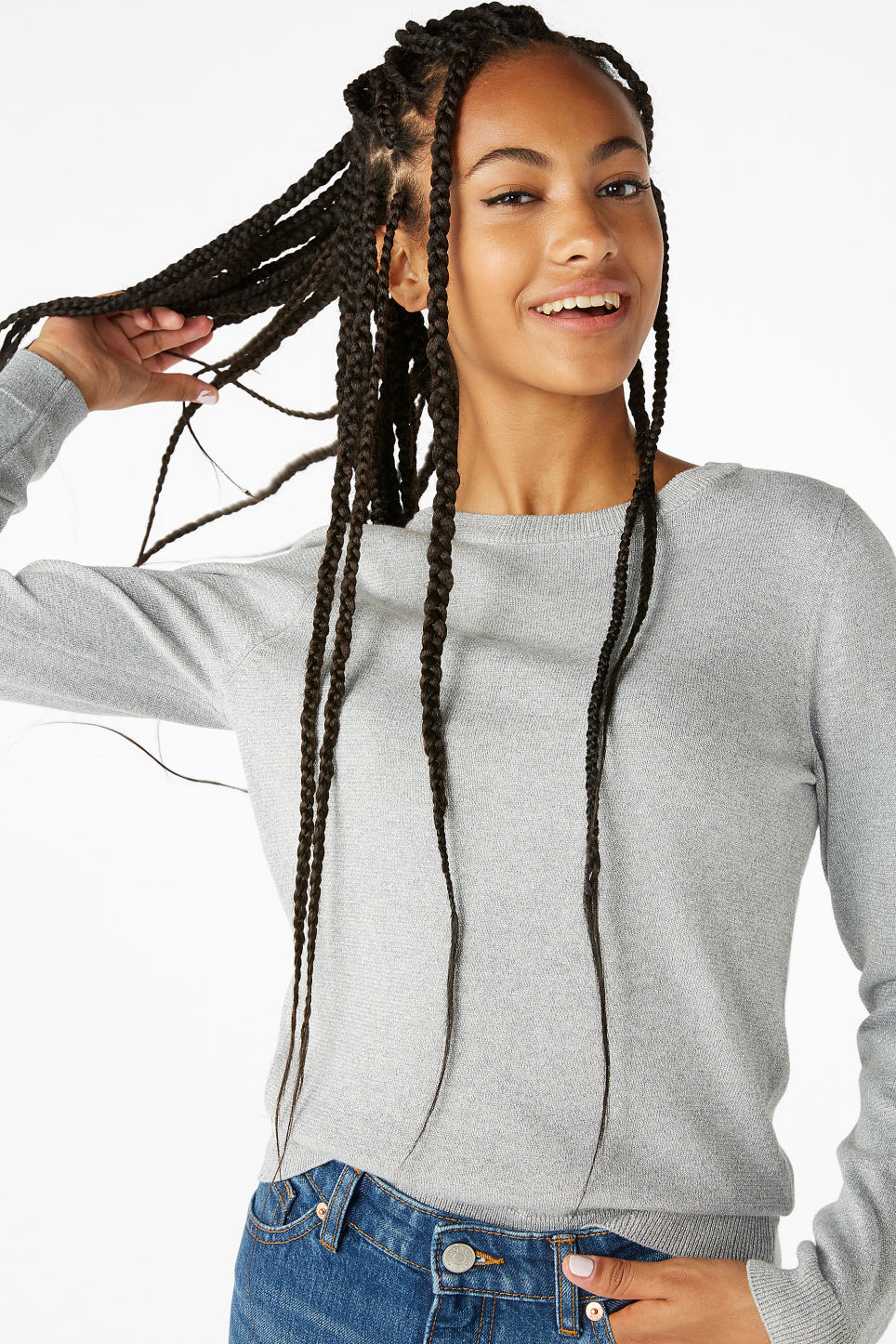 Model front image of Monki knitted long-sleeved top in grey