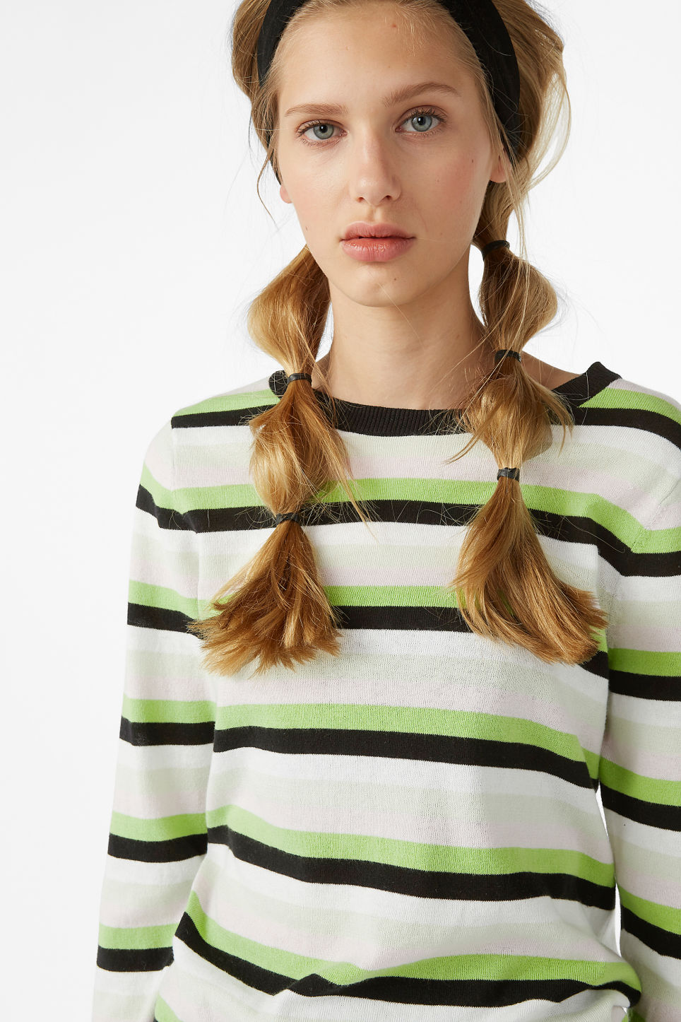Model front image of Monki knitted long-sleeved top in green