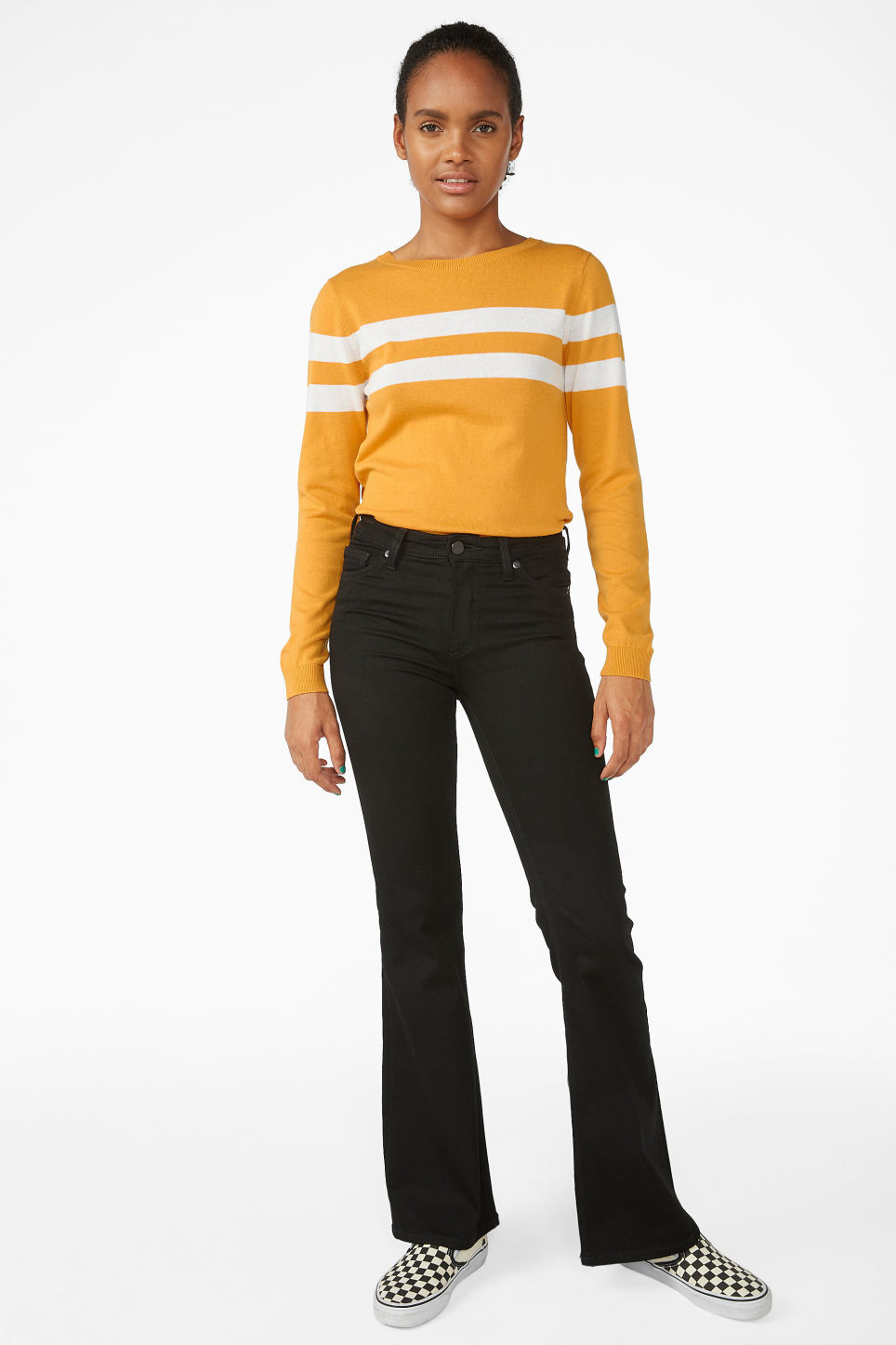 Model side image of Monki knitted long-sleeved top in yellow