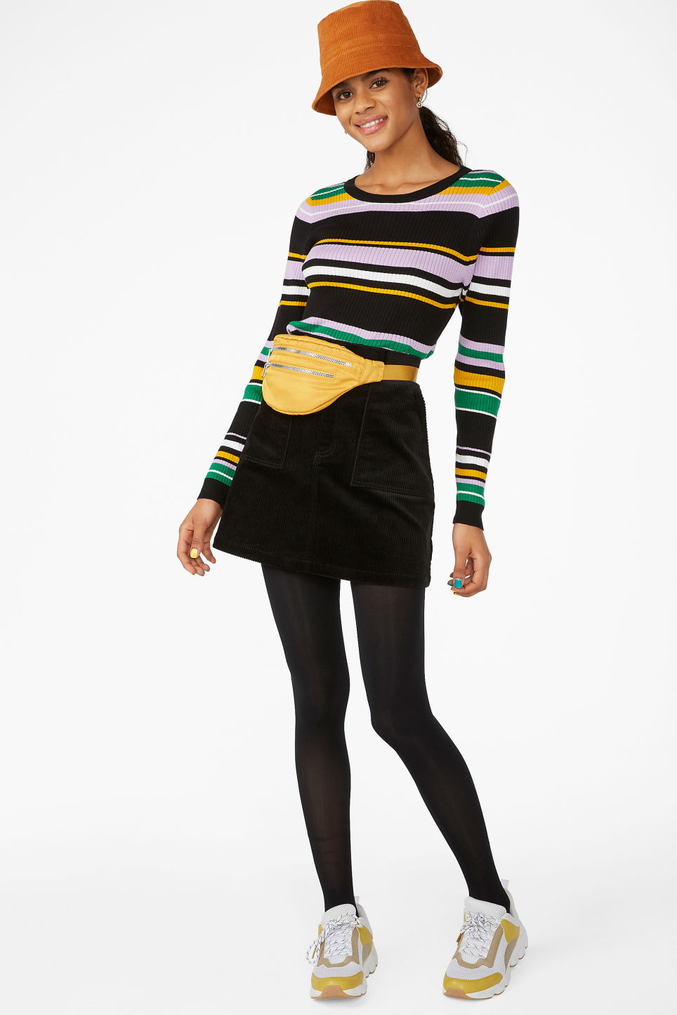 Model side image of Monki knitted long-sleeved top in black