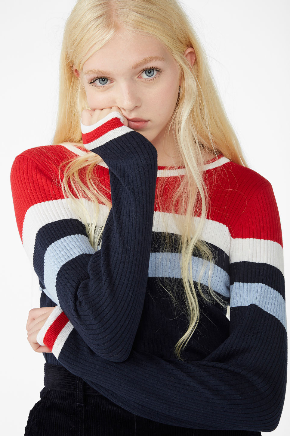 Model front image of Monki knitted long-sleeved top in blue