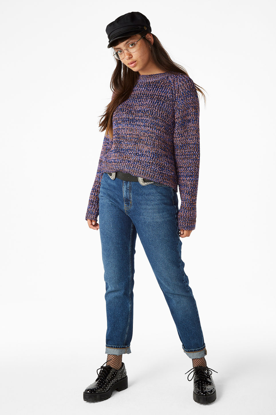 Model front image of Monki glitter sweater in yellow