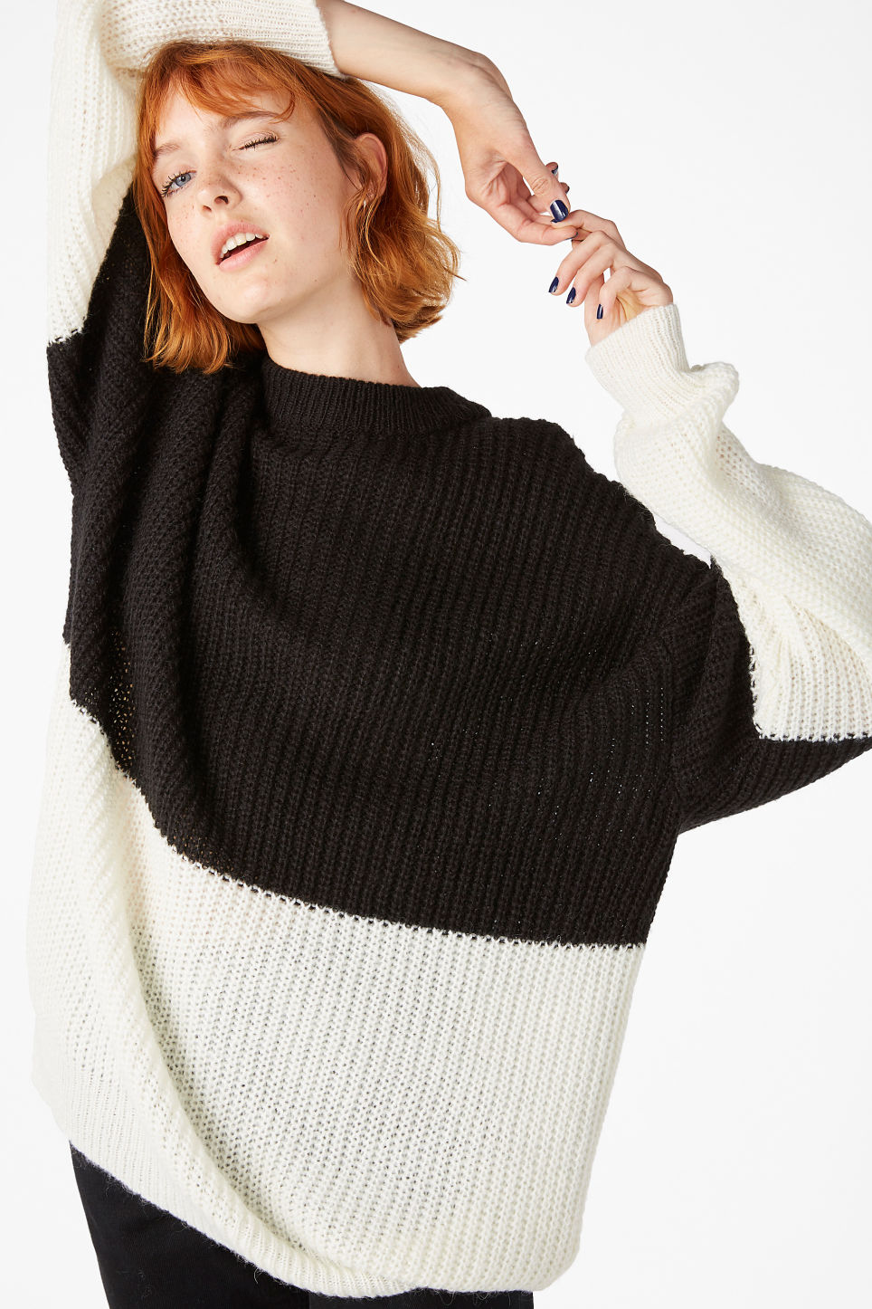 Model front image of Monki oversize knit top in black