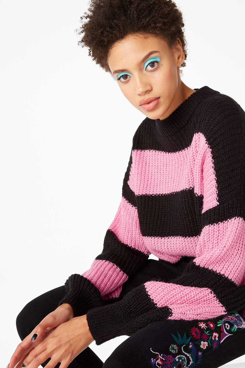 Model front image of Monki oversize knit top in pink