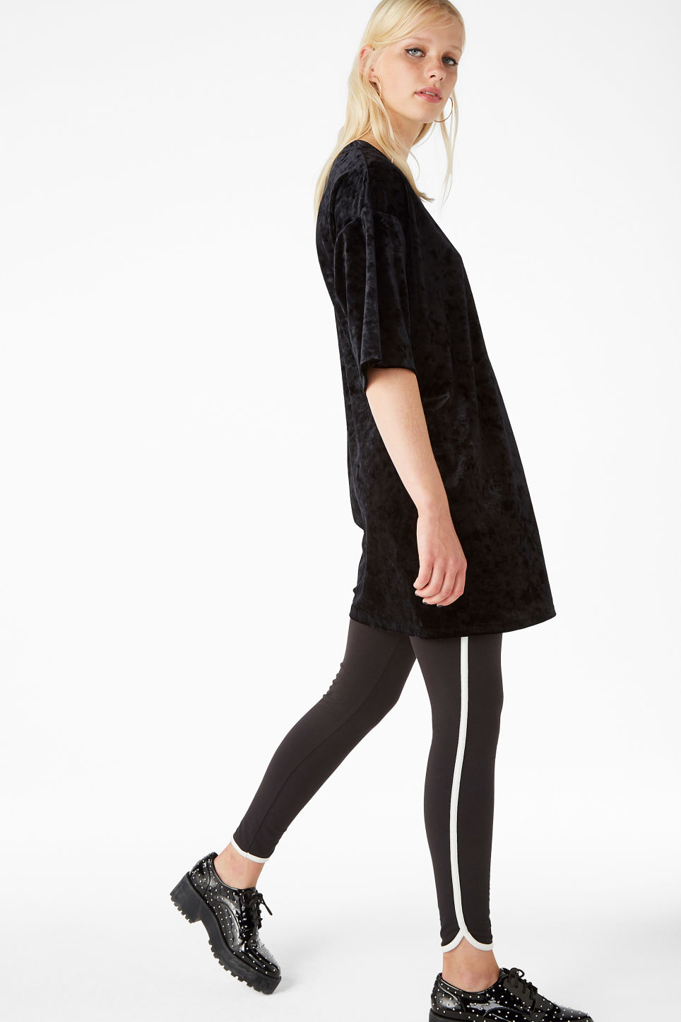 Model side image of Monki velvet tee  in black