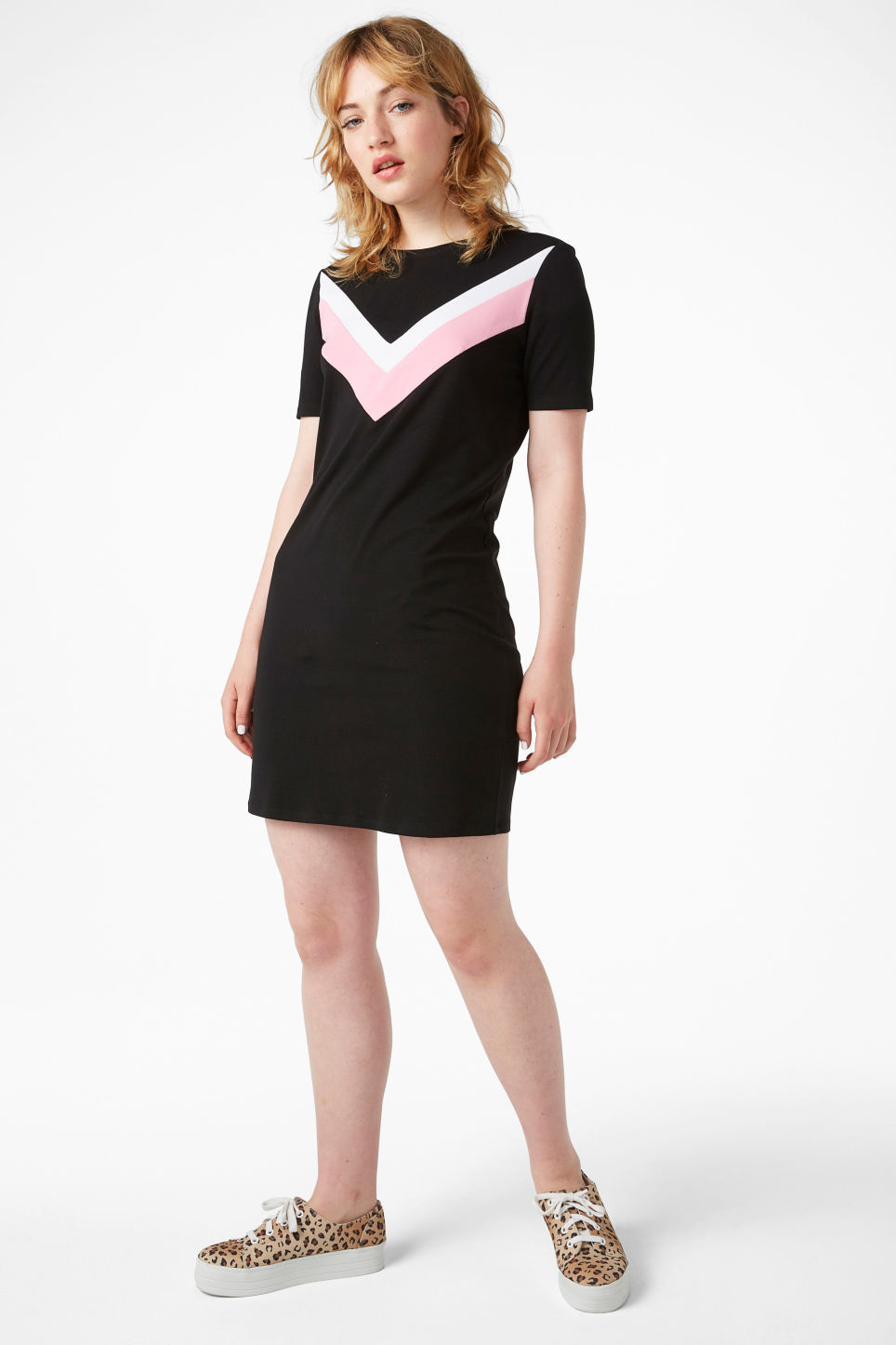 Model front image of Monki stretch t-shirt dress in black