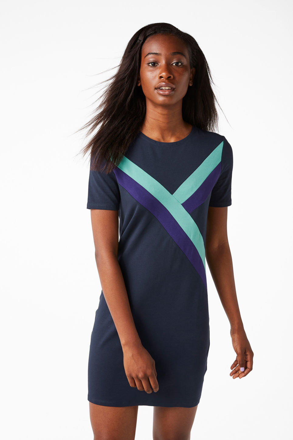 Model front image of Monki stretch t-shirt dress in blue