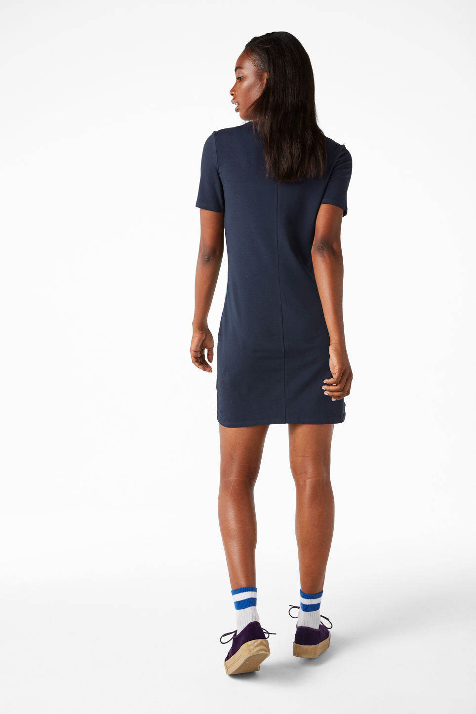 Model back image of Monki stretch t-shirt dress in blue