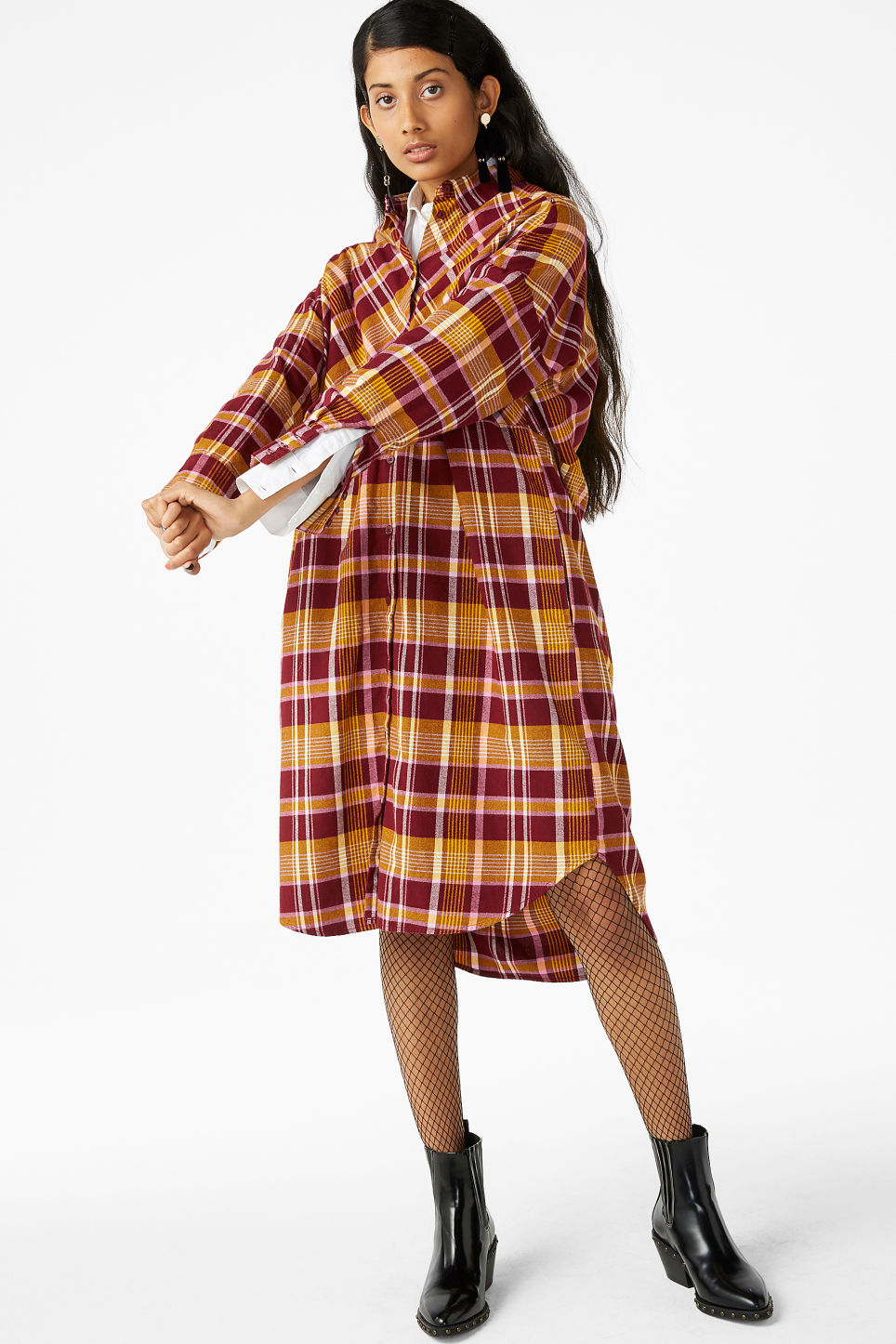 Model front image of Monki oversized shirt dress in yellow