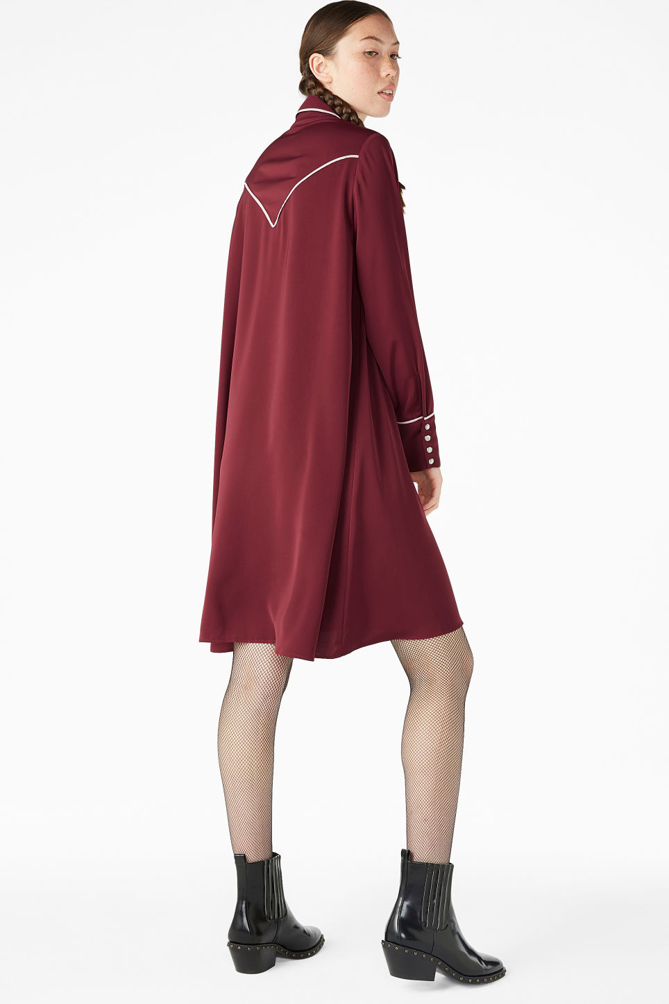 Model side image of Monki contrast piping shirt dress in red