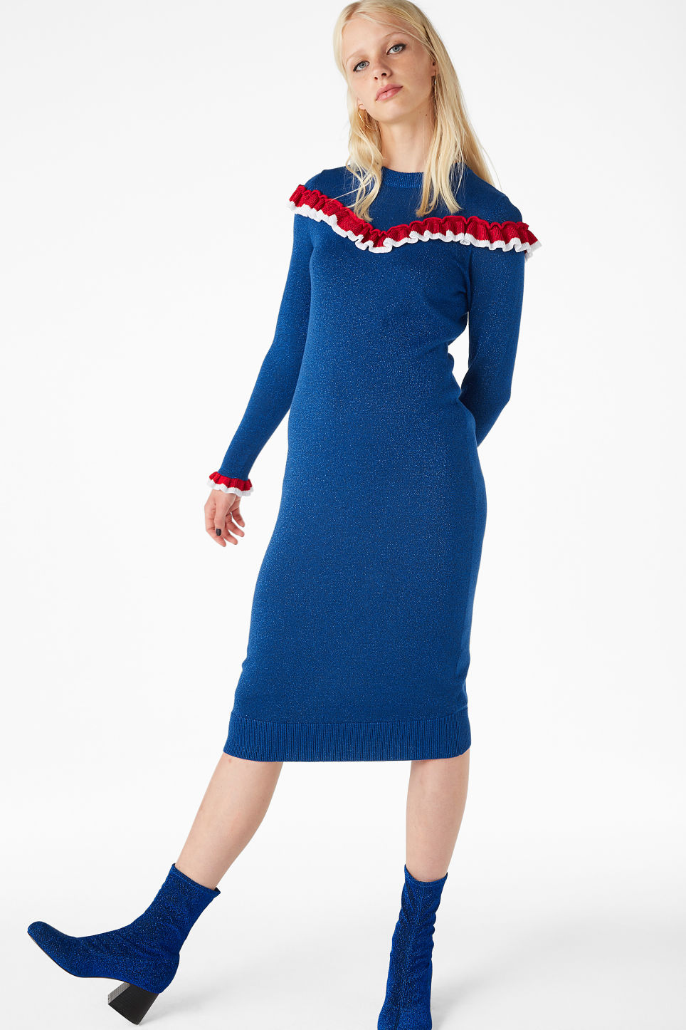 Model front image of Monki ruffled knit dress in blue
