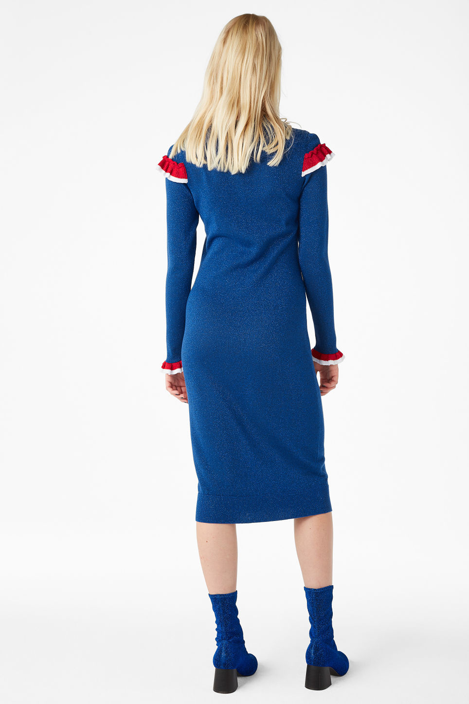 Model back image of Monki ruffled knit dress in blue