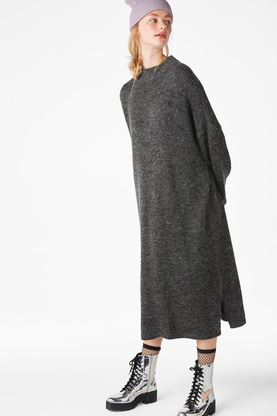 Model front image of Monki melange knit dress in grey