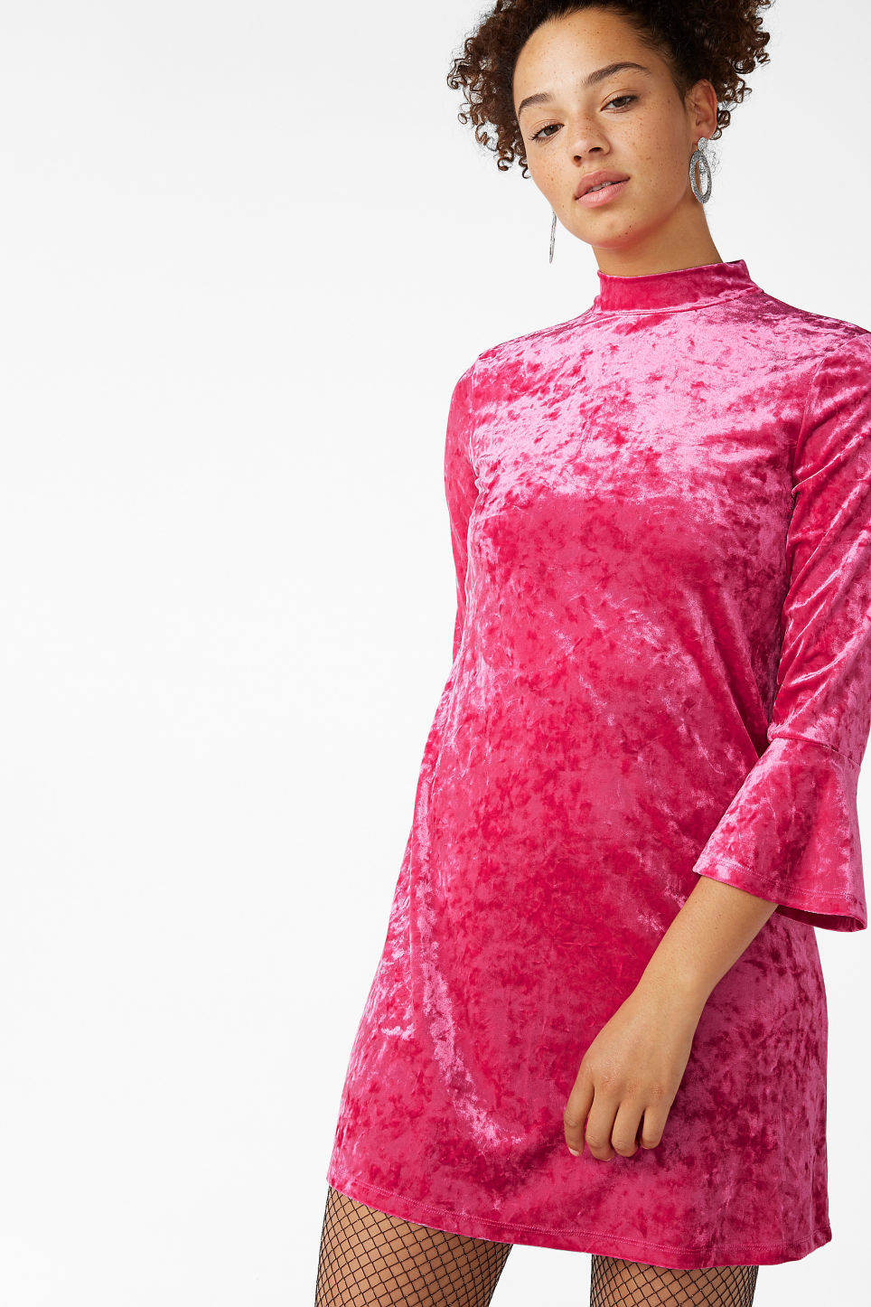 Model front image of Monki high neck velvet dress in pink