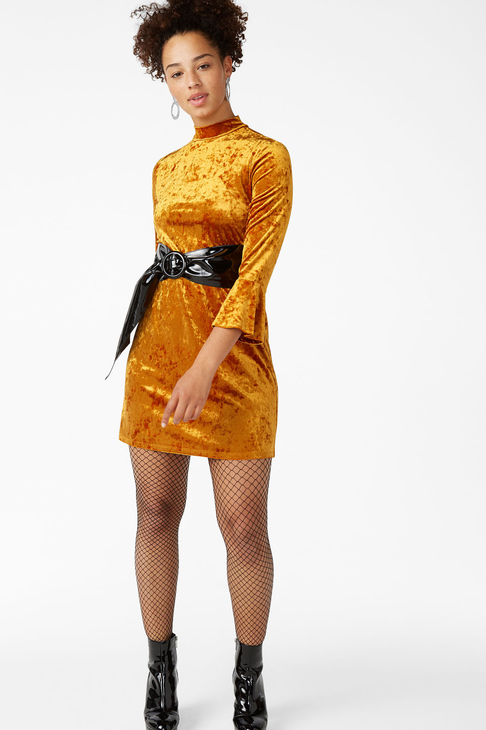 Model front image of Monki high neck velvet dress in orange