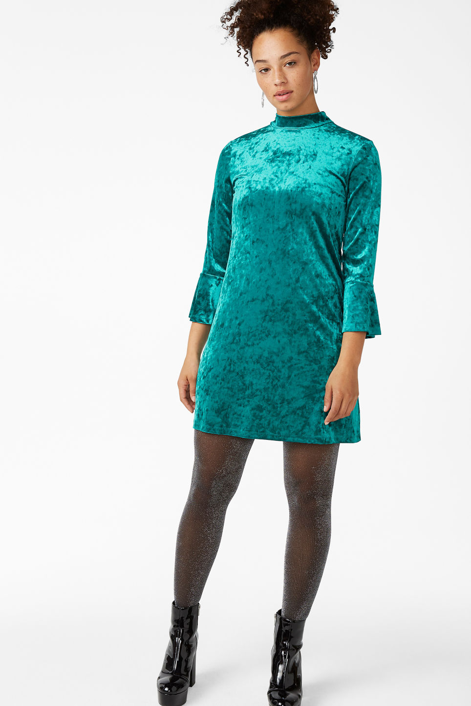 Model front image of Monki high neck velvet dress in turquoise