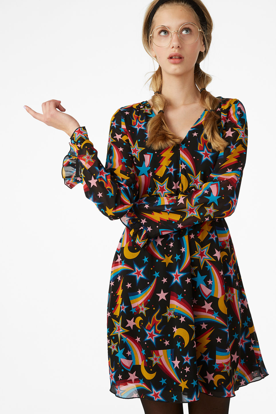 Model front image of Monki stay-up-all-night dress in black