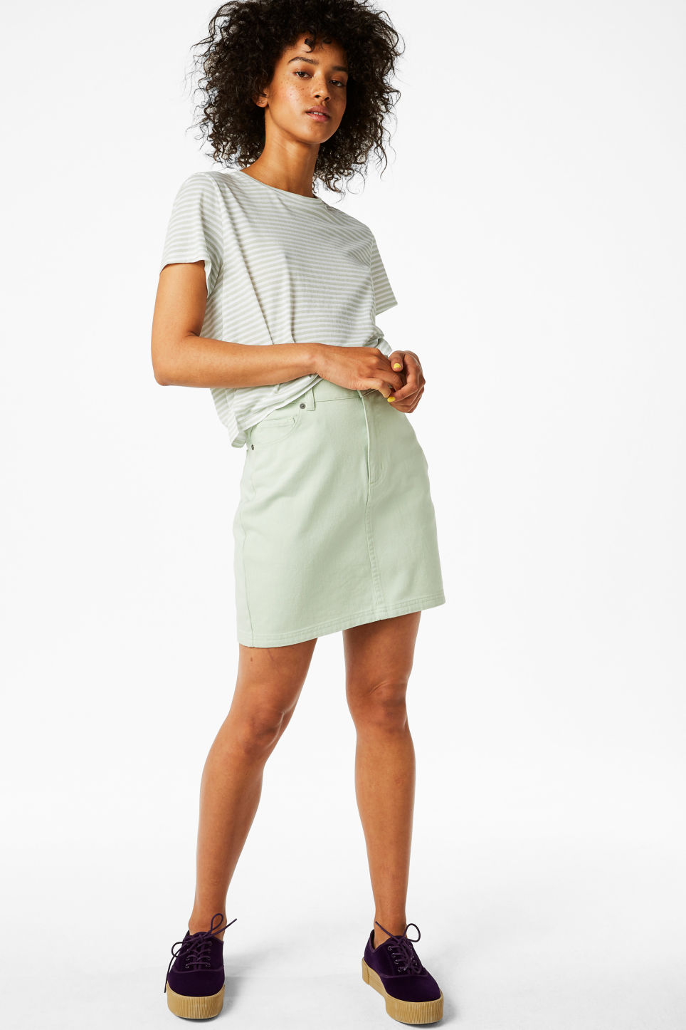 Model front image of Monki cotton miniskirt in green