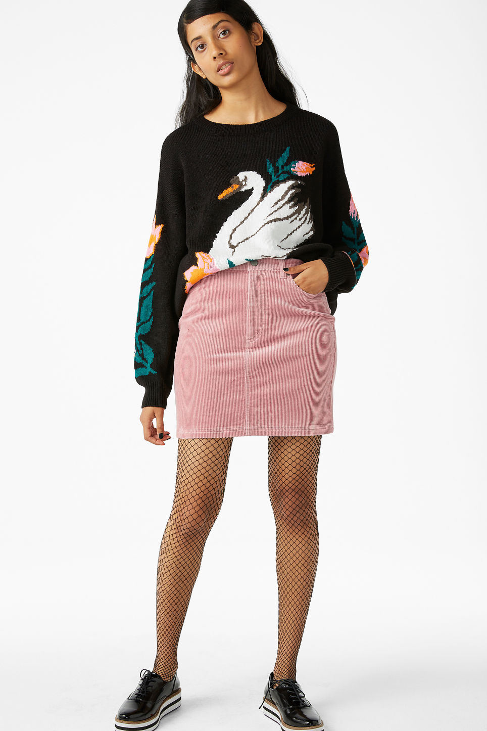 Model front image of Monki cord skirt in pink
