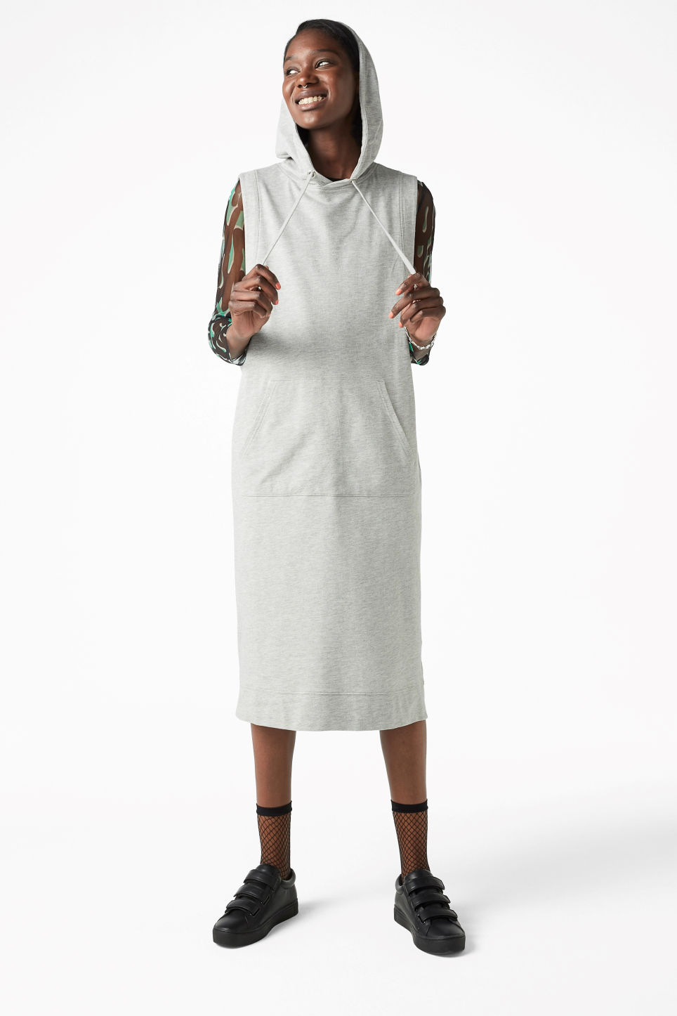 Model front image of Monki sleeveless hoodie dress in grey