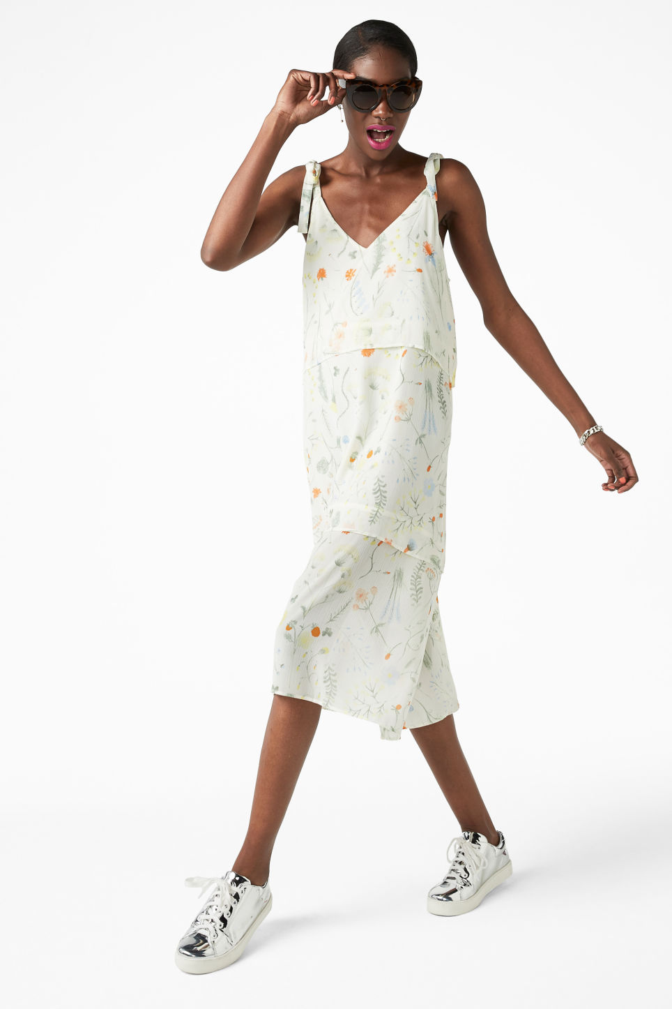Model front image of Monki shoulder tie dress in white