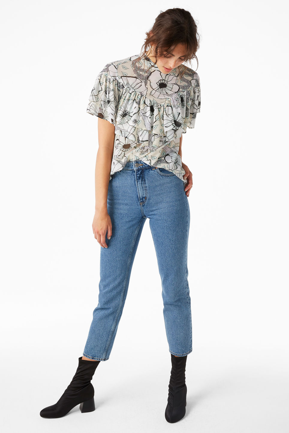 Model front image of Monki high neck ruffle blouse in white