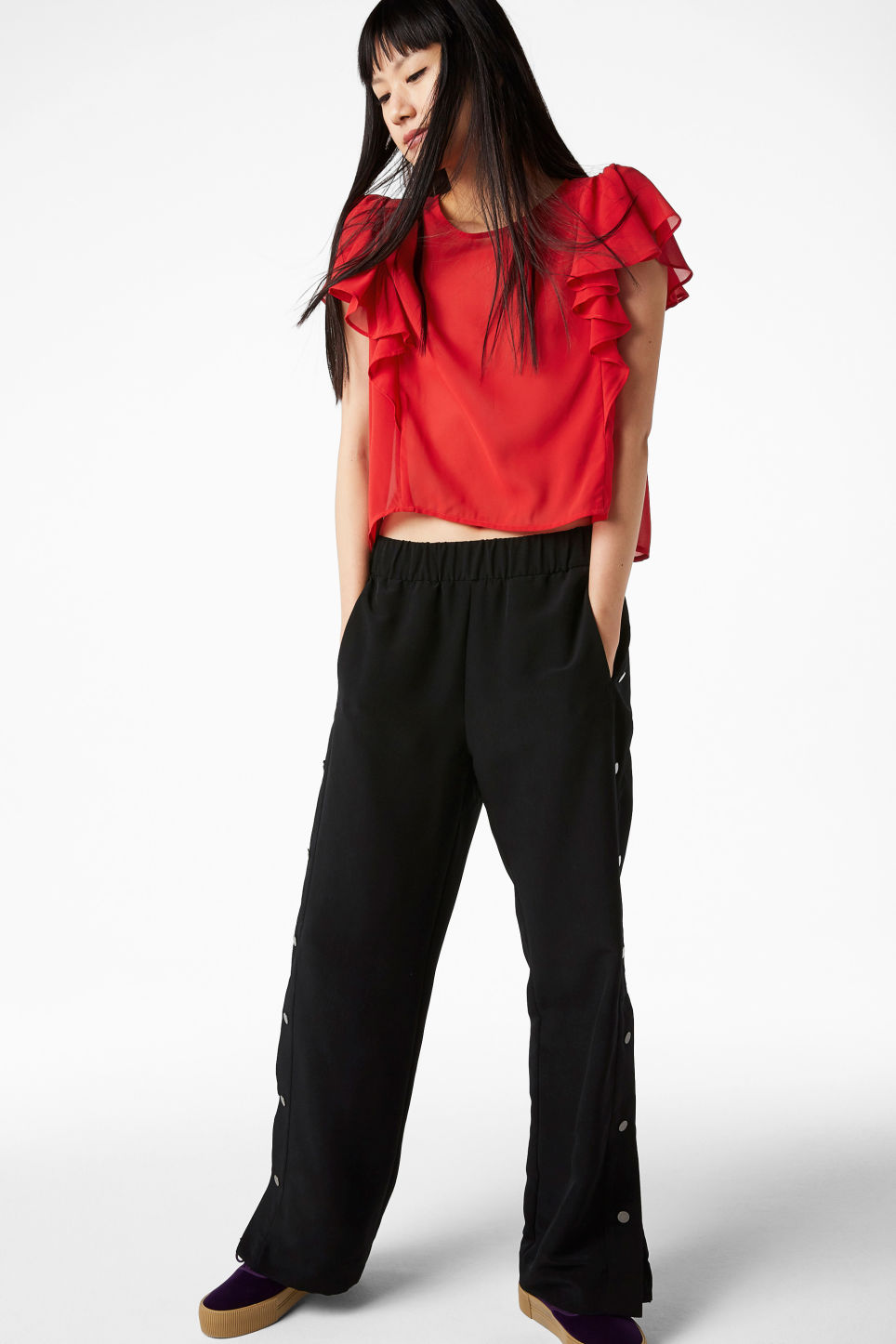 Model front image of Monki ruffled blouse in red