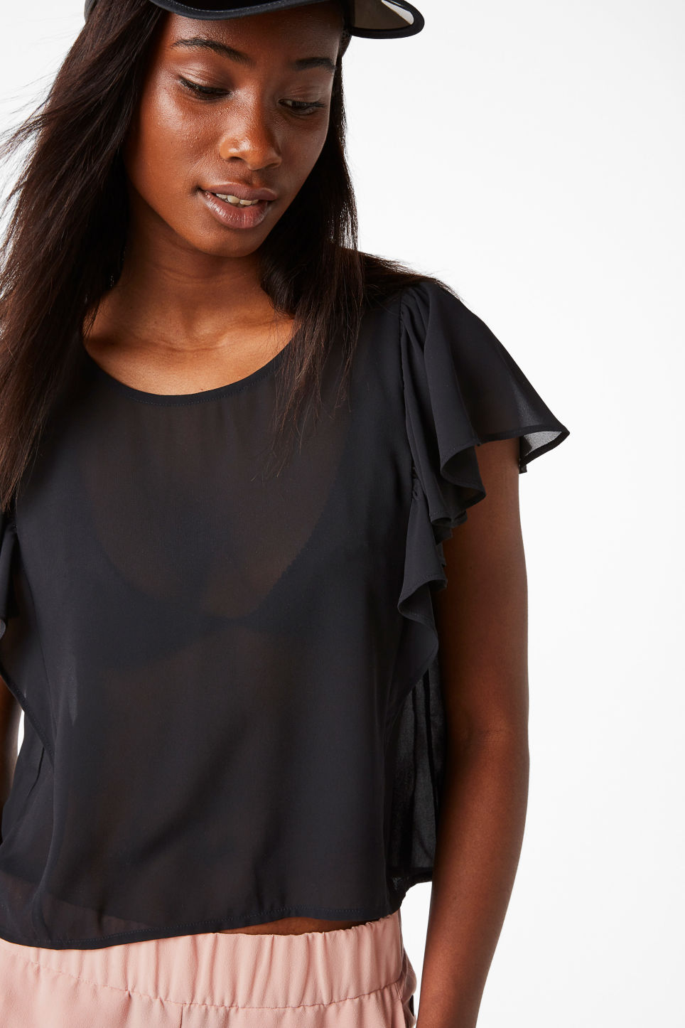 Model front image of Monki ruffled blouse in black