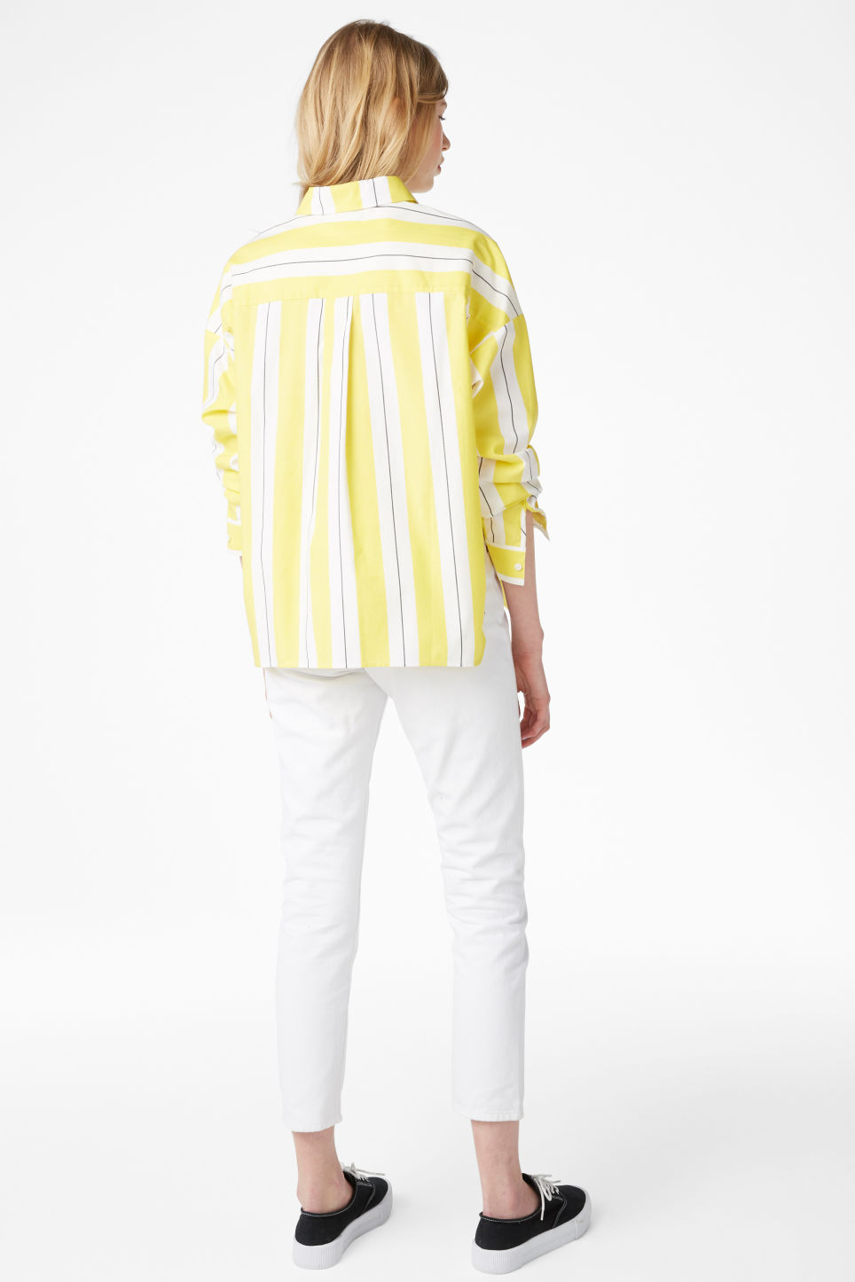 Model back image of Monki hidden button cotton blouse in yellow