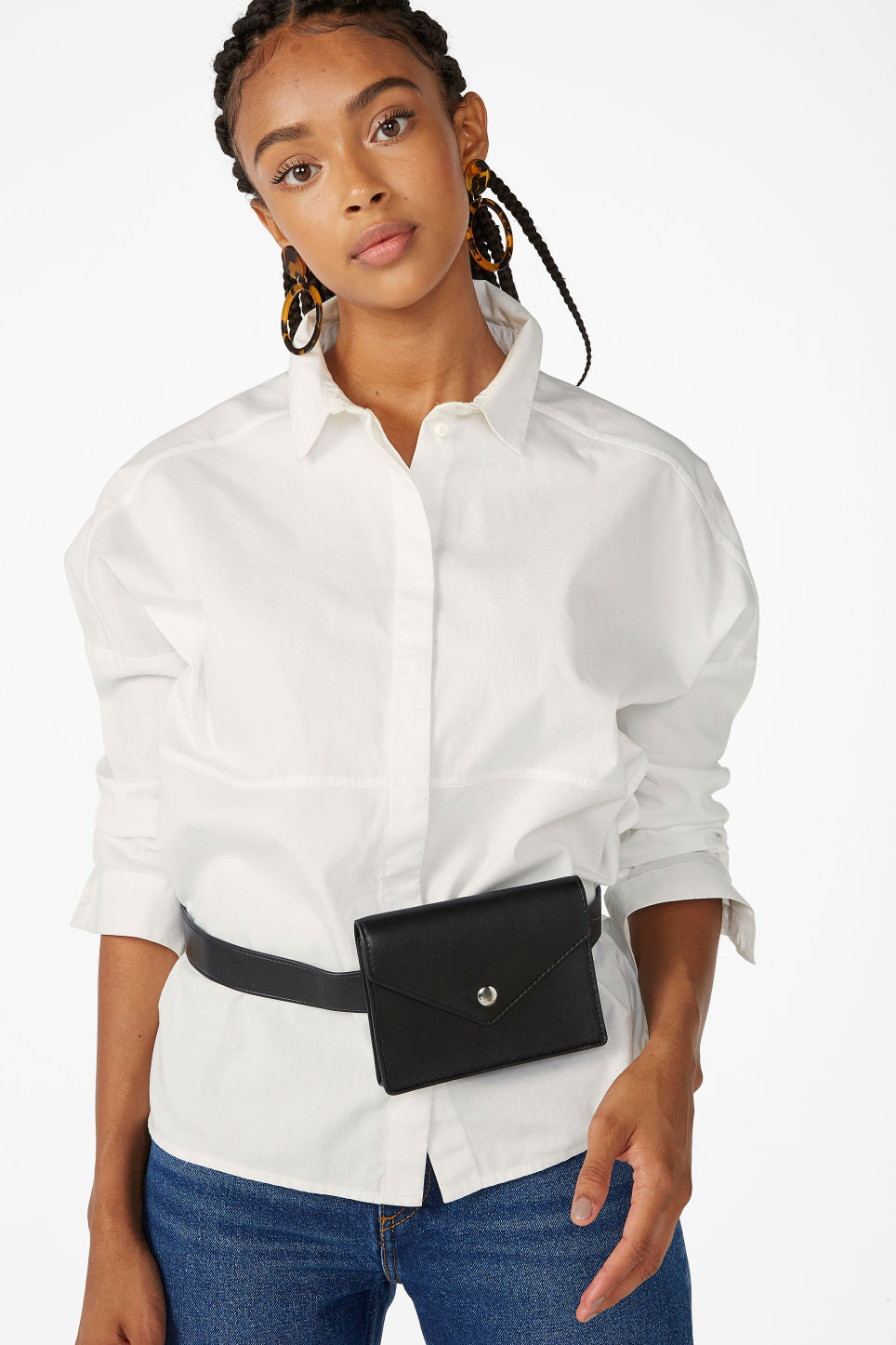 Model front image of Monki hidden button cotton blouse in white