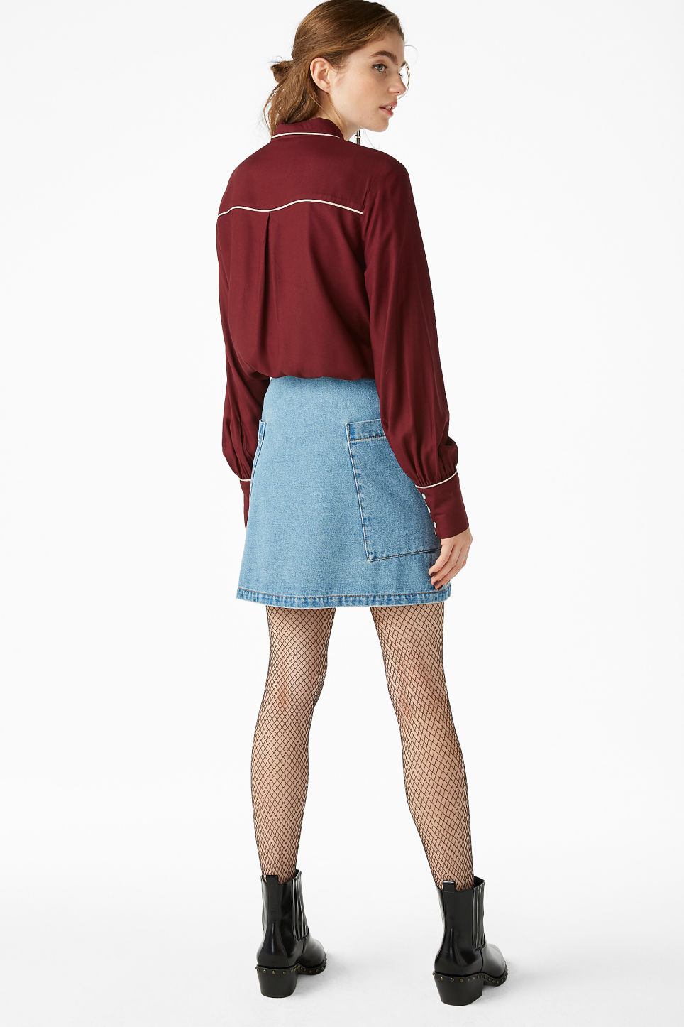 Model back image of Monki western shirt in red