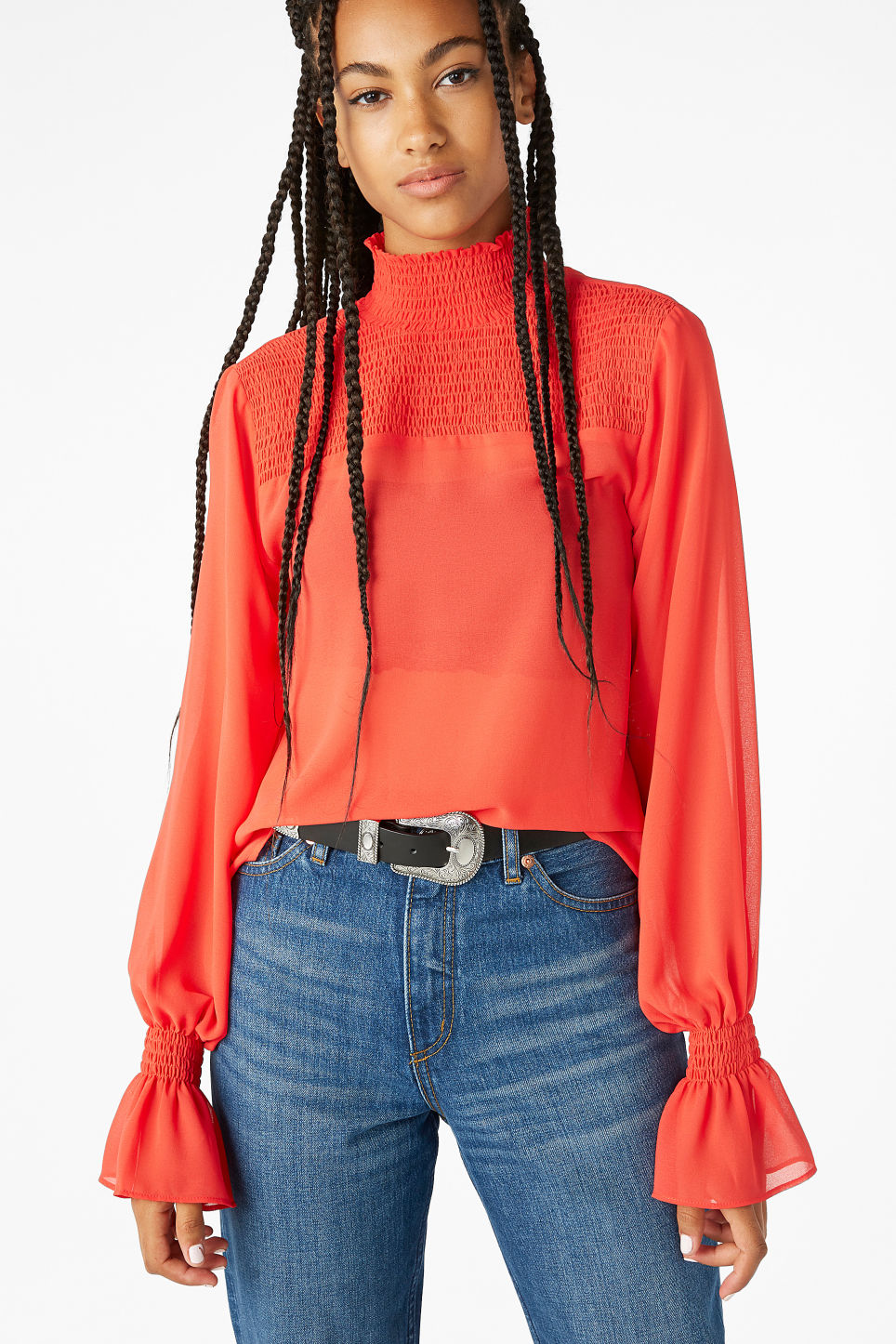 Model front image of Monki smocked high neck blouse in red
