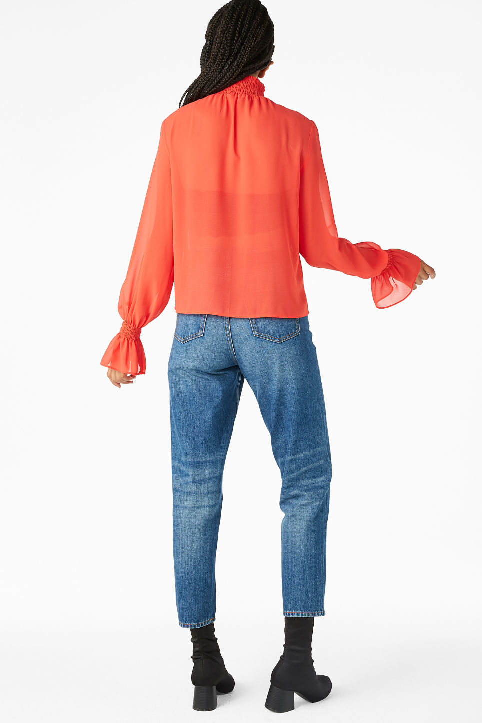 Model back image of Monki smocked high neck blouse in red