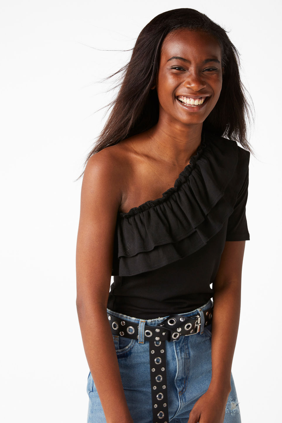 Model front image of Monki ruffled one shoulder top in black
