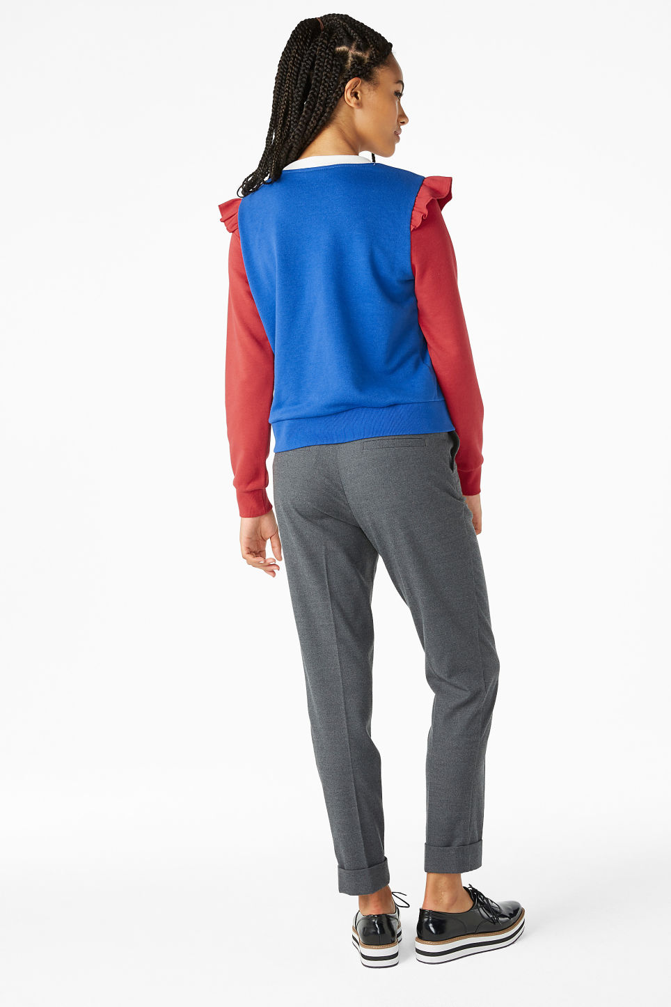 Model back image of Monki ruffled sweatshirt in blue