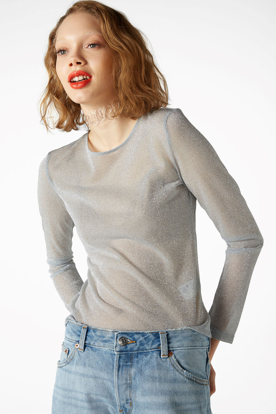Model front image of Monki metallic fitted top in silver