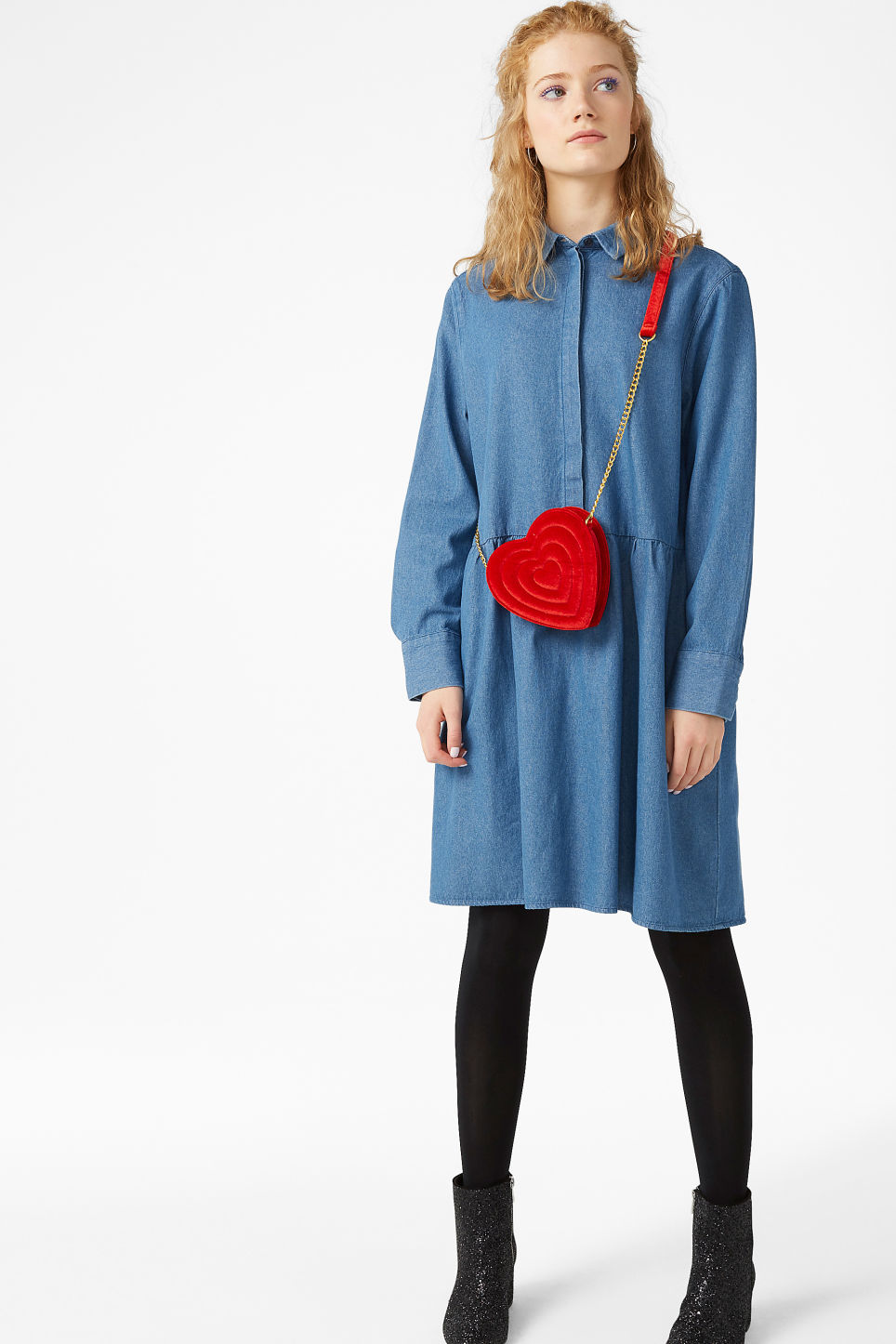 Model front image of Monki denim shirt dress in blue
