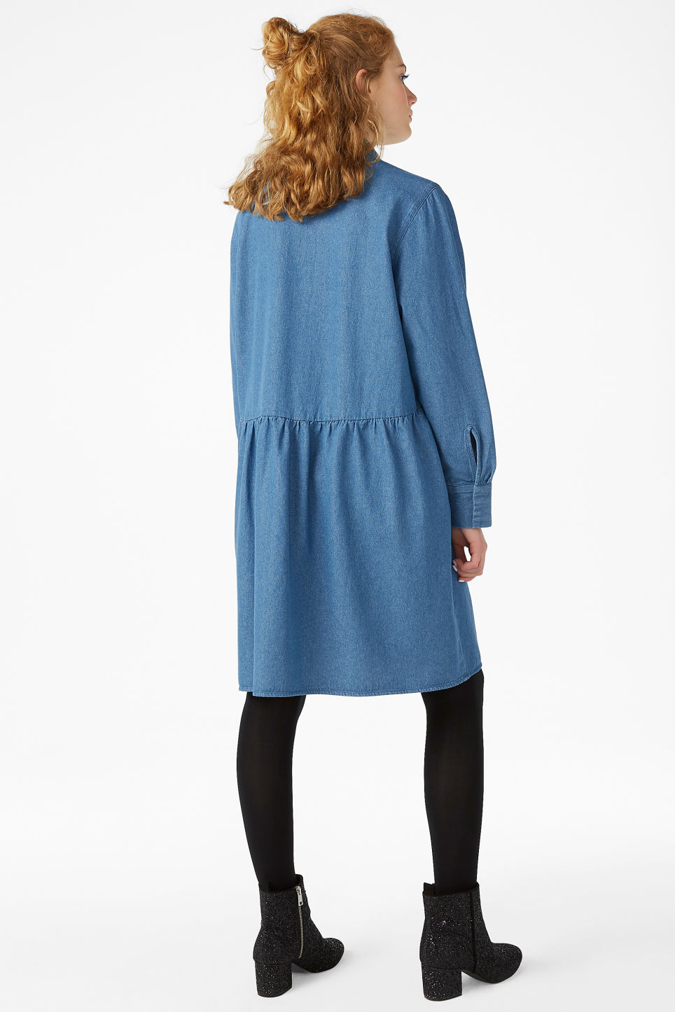 Model back image of Monki denim shirt dress in blue