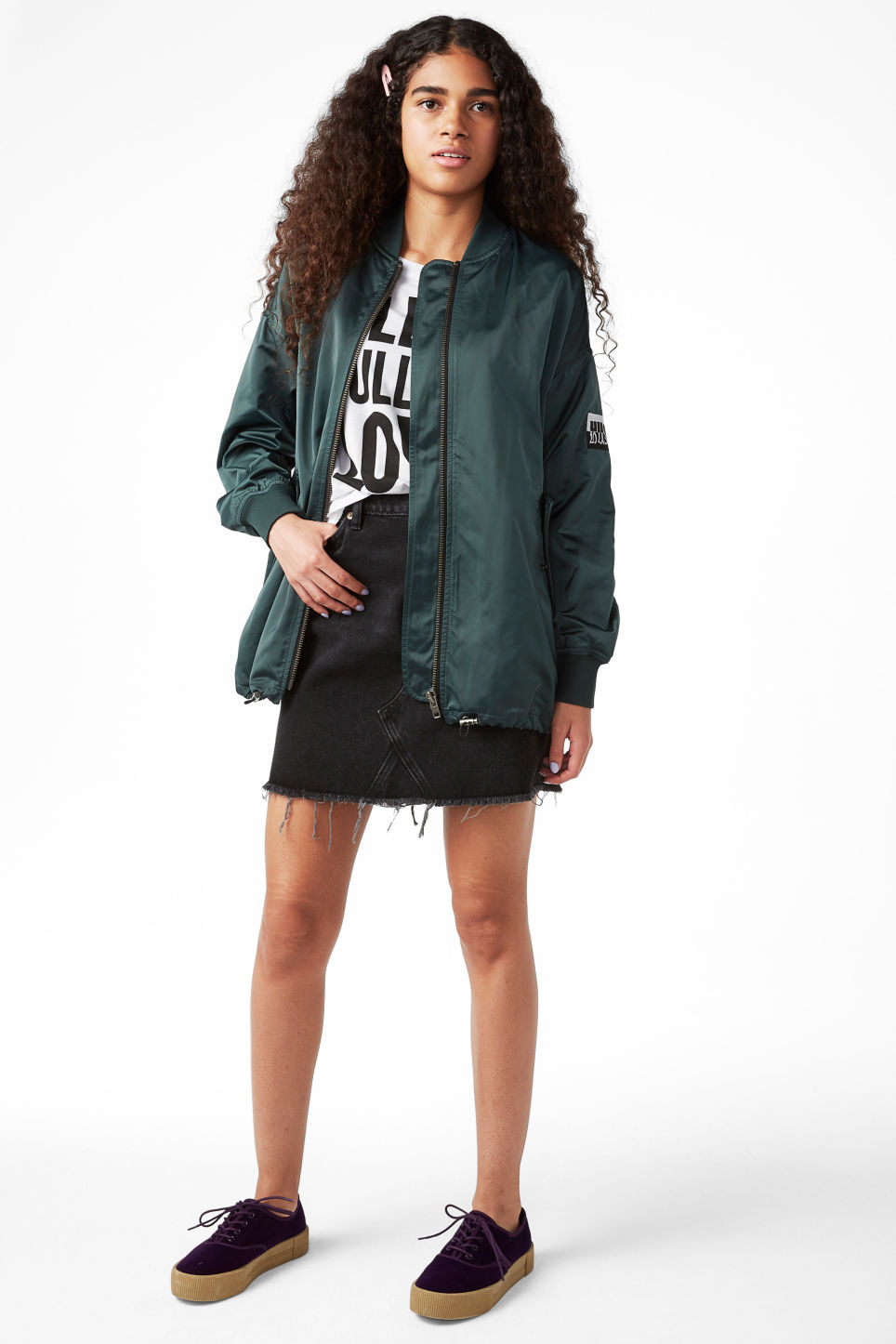 Model front image of Monki embroidered satin bomber jacket in turquoise