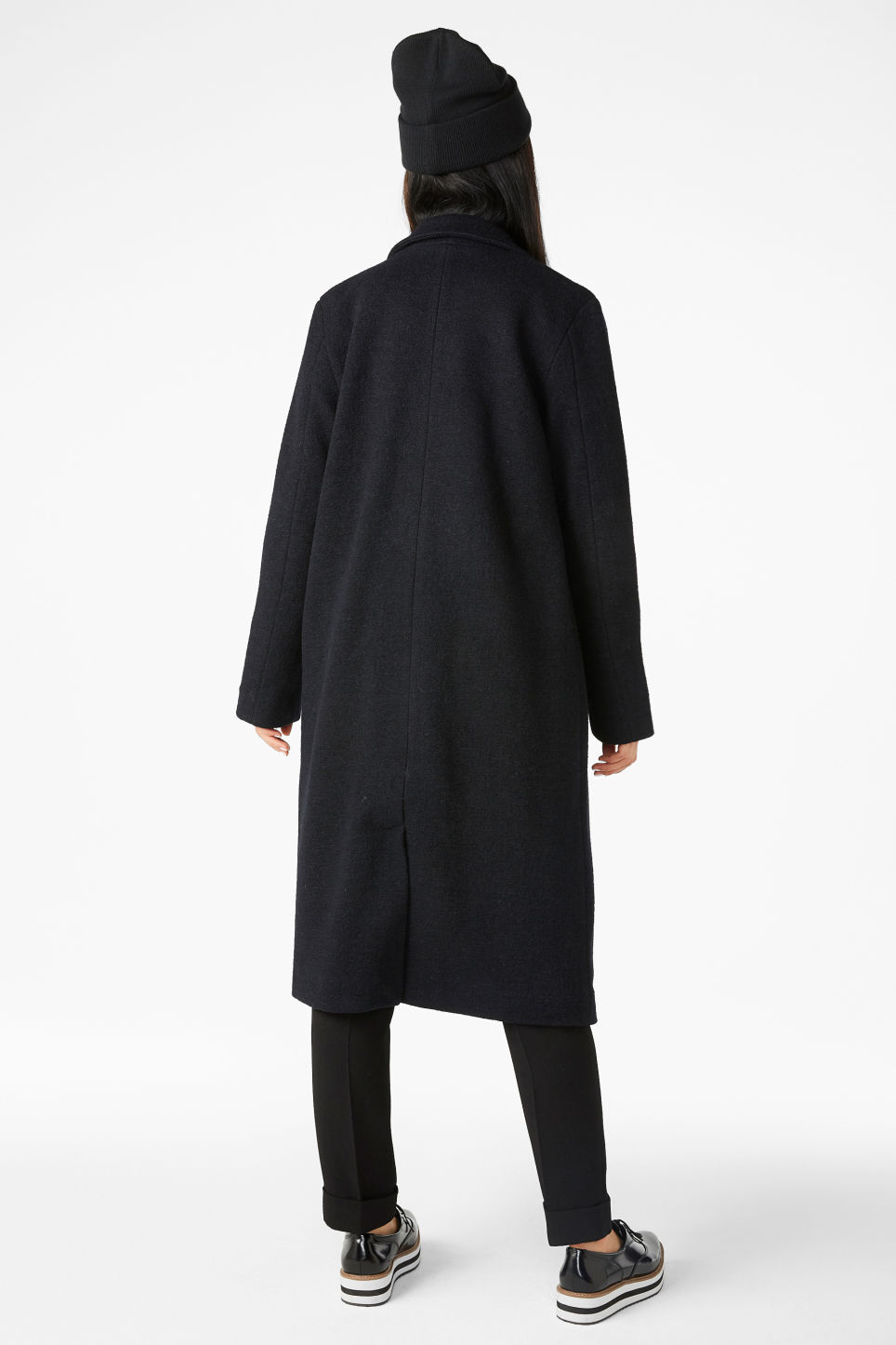Model back image of Monki double-breasted coat in black