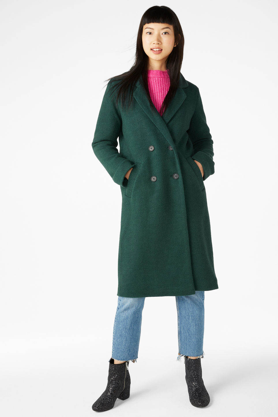Model front image of Monki double-breasted coat in green