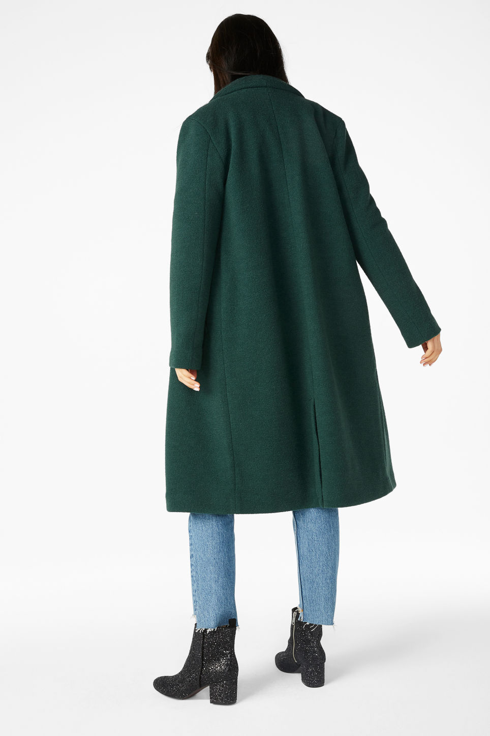 Model back image of Monki double-breasted coat in green