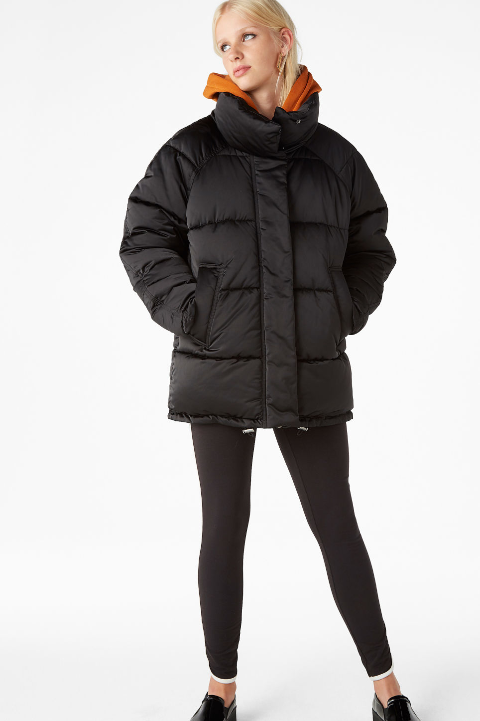 Model front image of Monki puffer jacket in black