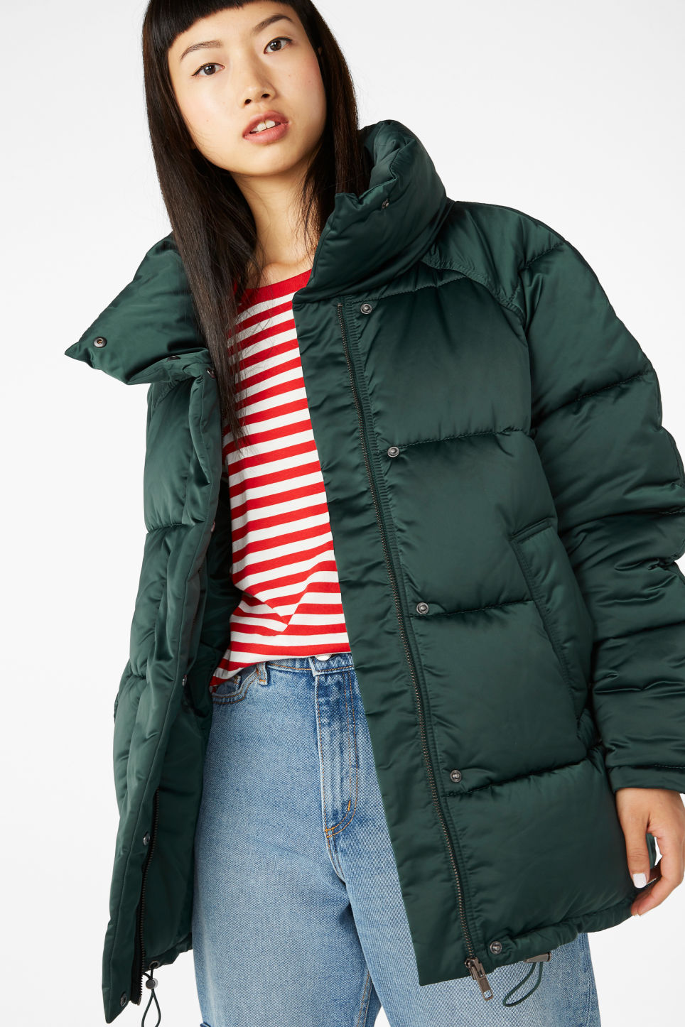 Model front image of Monki puffer jacket in turquoise