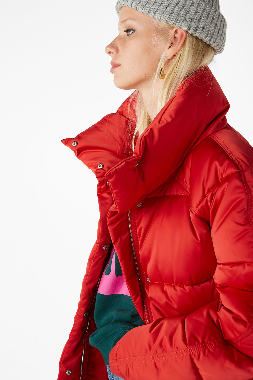 Model front image of Monki puffer jacket in red