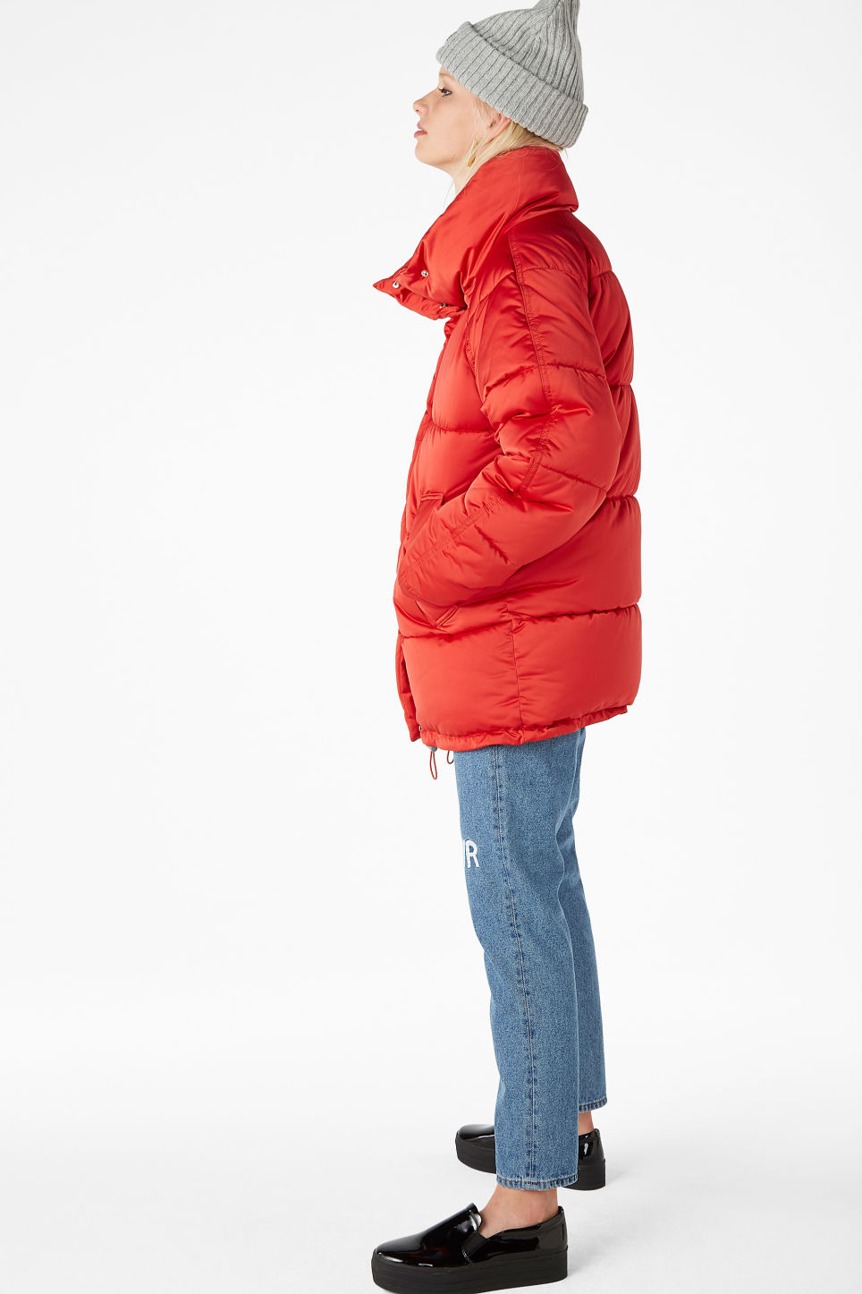 Model side image of Monki puffer jacket in red