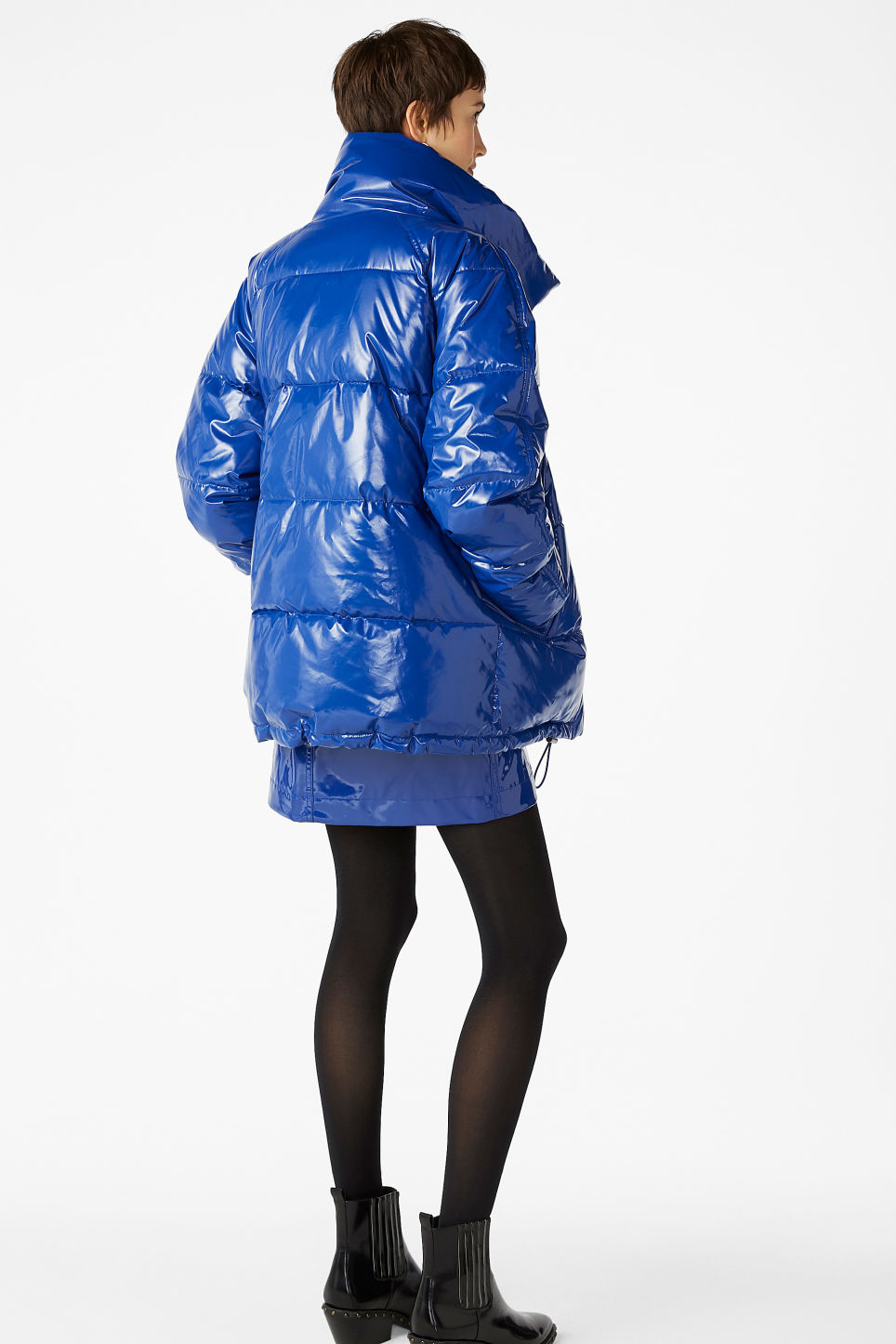 Model back image of Monki puffer jacket in blue