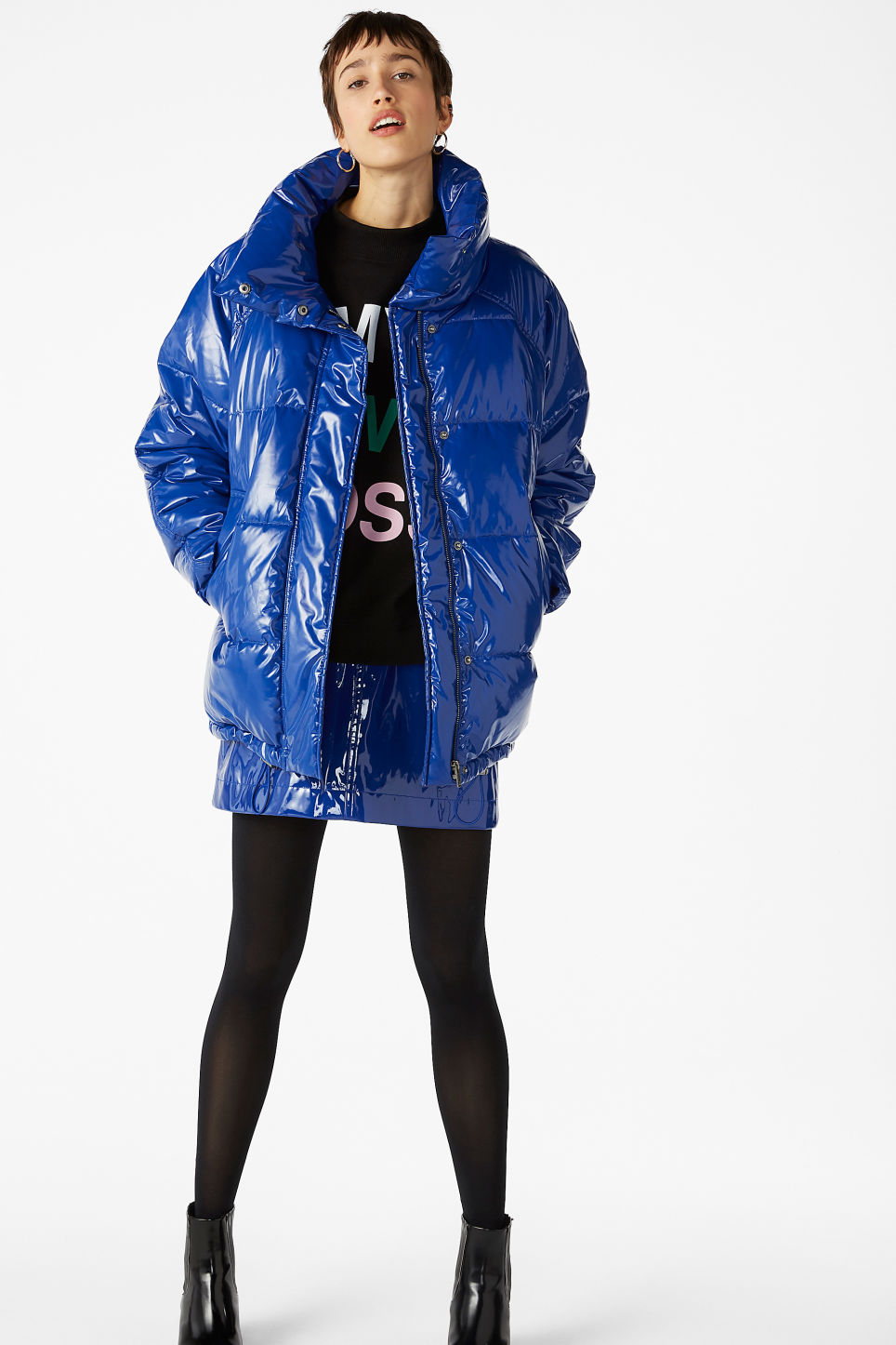 Model front image of Monki puffer jacket in blue