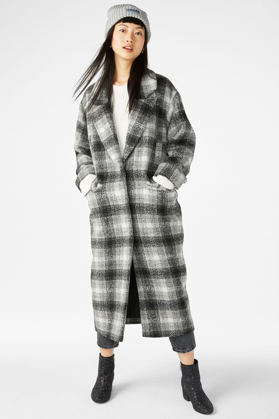 Model front image of Monki wool coat in grey