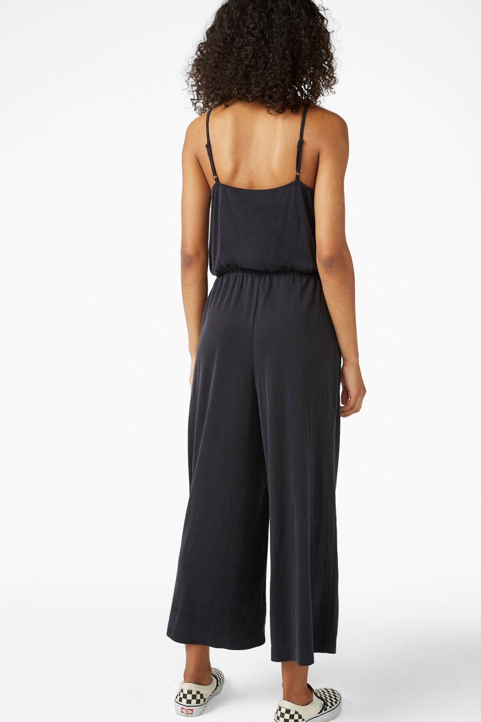 Model back image of Monki super-soft wrap jumpsuit in black